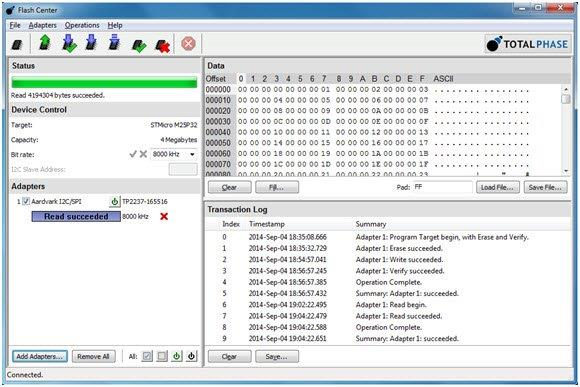 Flash Center Software shows the results of the Aardvark Adapter programming and reading the device