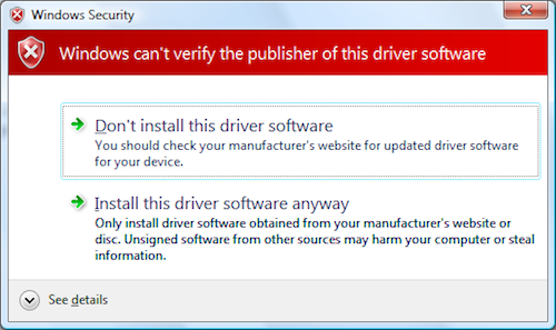 Windows warning for unsigned drivers