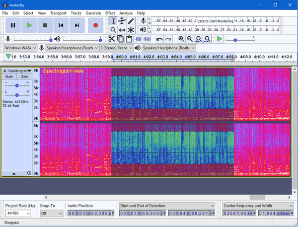 Sepctrogram view on Audacity