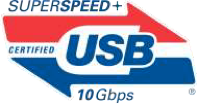 SuperSpeed USB logo supporting 10 Gbps