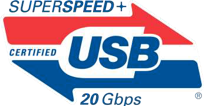 SuperSpeed USB logo supporting 20 Gbps
