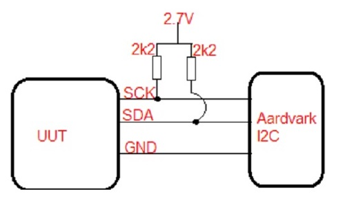 Diagram of 2.2k ohm resistors : SCK and SDA lines to 2.7V .