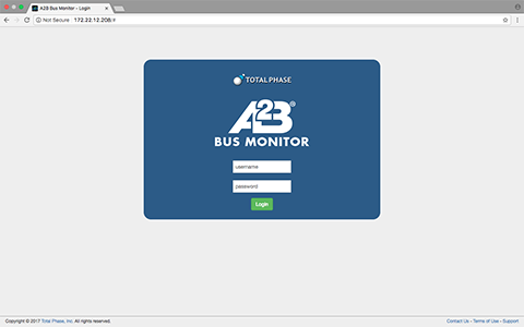 A2B Bus Monitor Login Page